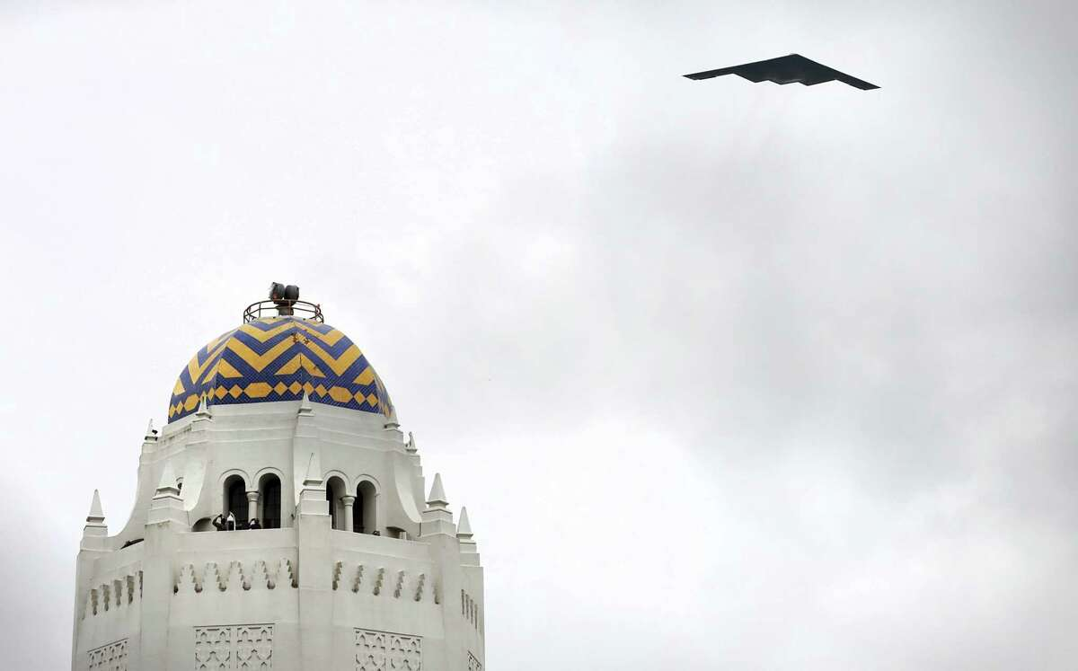 A B-2 Bomber performs a fllyover during the 46th annual Freedom Flyers Reunion, on Friday, March 29, 2019, at Joint Base San Antonio - Randolph.