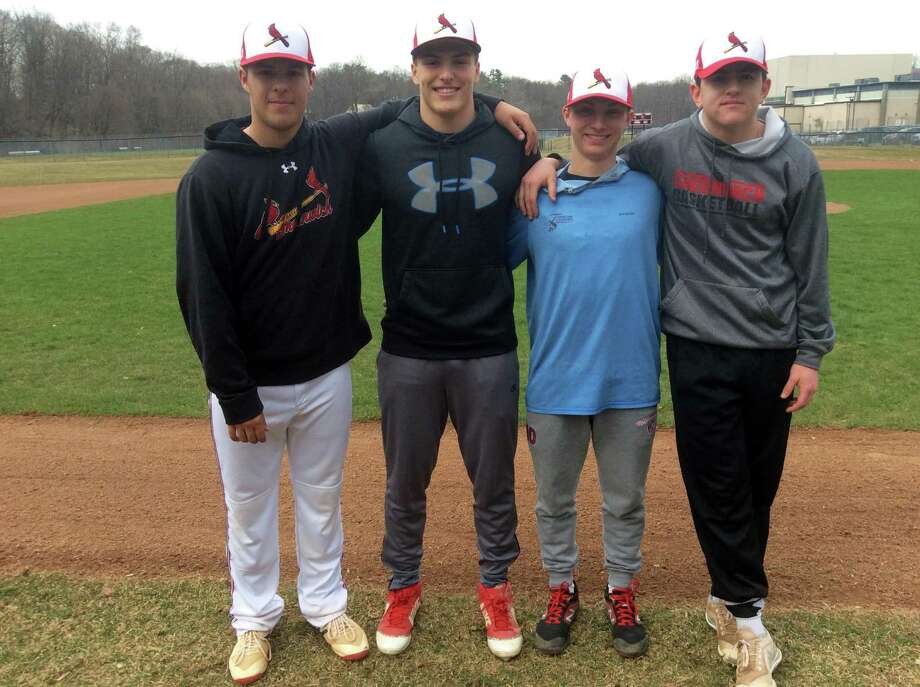 From left to right, Cristian Perez, Jackson Blanchard, Sean Pratley and Stephen Bennett are senior captains of the Greenwich High School baseball team, which opens its season Saturday against visiting Simsbury. Photo: David Fierro / Hearst Connecticut Media / Connecticut Post