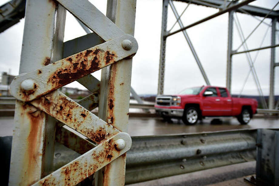 Issues like this oxidation on the Water Street Bridge in Pittston in 2017 is just one of many Illinois seeks to address under a new transportation plan. Photo: Sean McKeag | Times Leader
