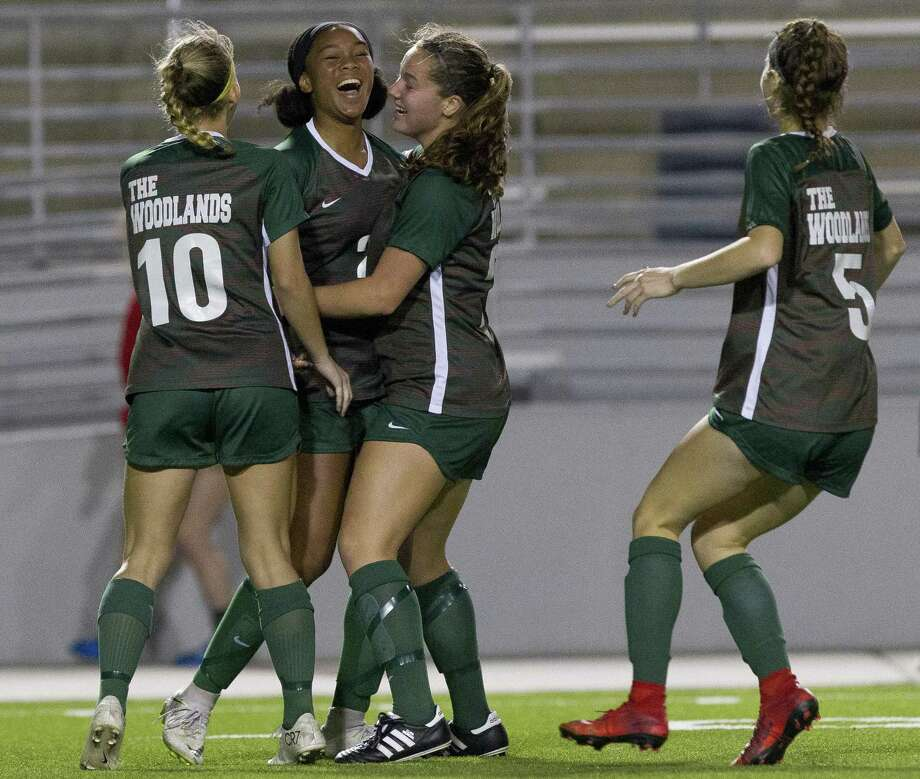 In this file photo, The Woodlands forward Samone Knight (24) reacts after scoring a goal during the second period of a District 15-6A high school soccer match at Woodforest Bank Stadium, Friday, March 8, 2019, in Shenandoah. Photo: Jason Fochtman, Houston Chronicle / Staff Photographer / © 2019 Houston Chronicle