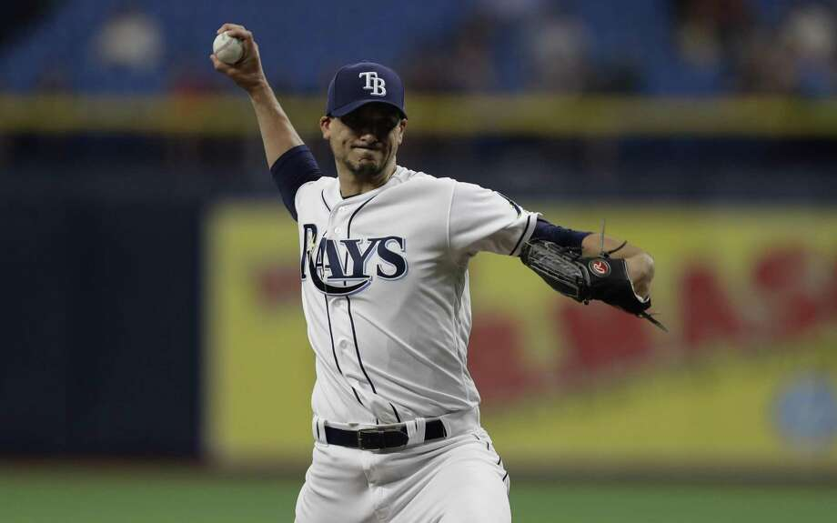Tampa Bay Rays starting pitcher Charlie Morton during the first inning of a baseball game against the Houston Astros Friday, March 29, 2019, in St. Petersburg, Fla. Photo: Chris O'Meara, STF / Associated Press / Copyright 2019 The Associated Press. All rights reserved.