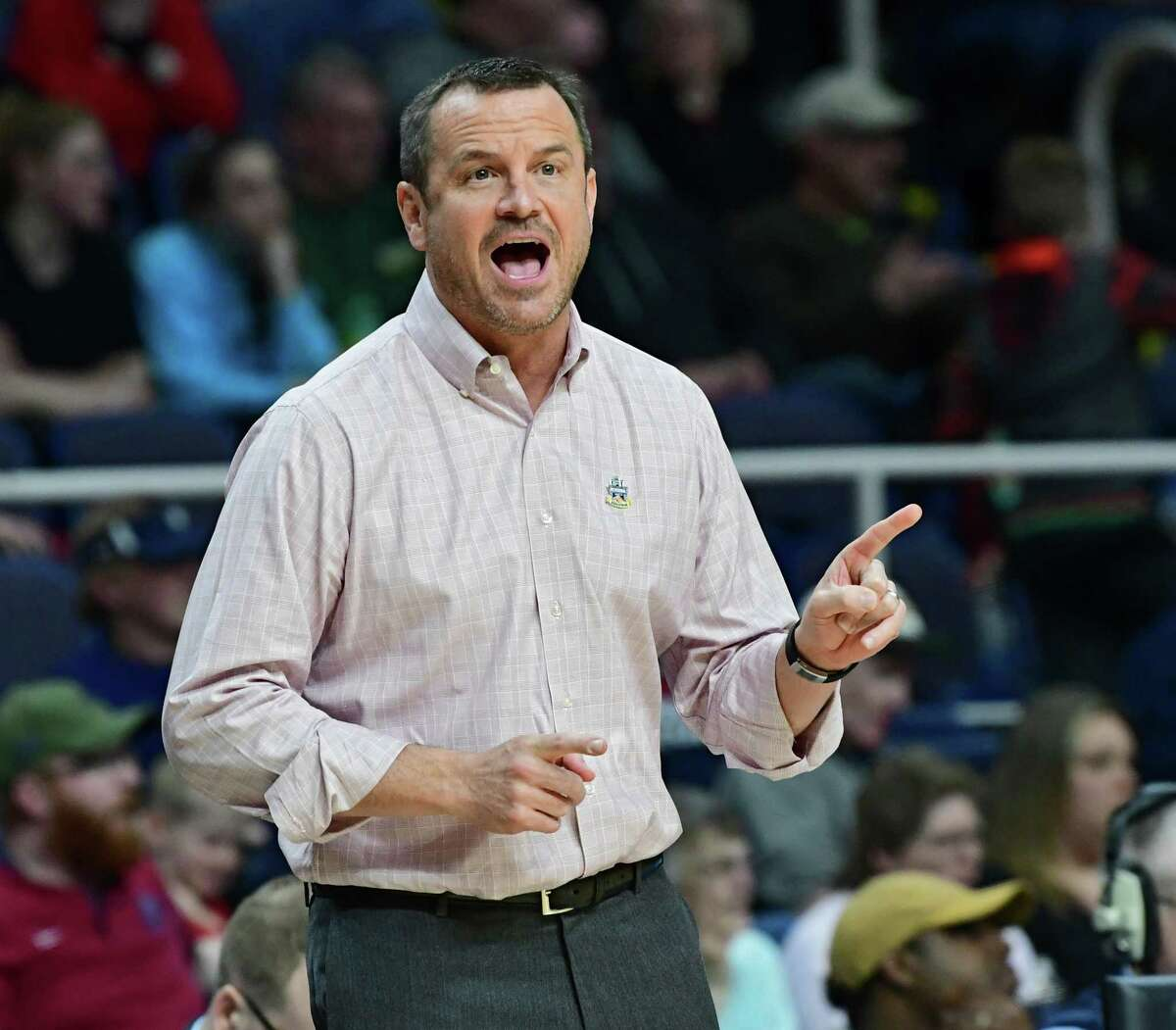 Louisville head coach Jeff Walz communicates to his team during a semifinal game against Oregon State in the Albany Regional of the NCAA Women's Basketball Championship at the Times Union Center on Friday, March 29, 2019 in Albany, N.Y. (Lori Van Buren/Times Union)