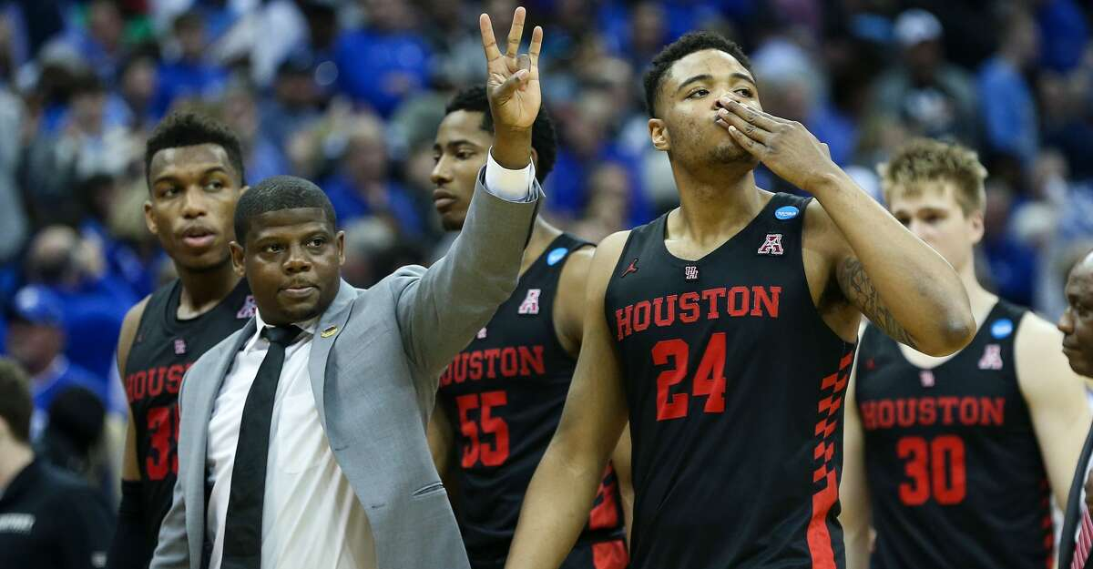 Houston forward Breaon Brady (24) blows a kiss to the Cougars fans in the arena after UH was eliminated with a 62-58 loss to Kentucky in the NCAA Midwest Regional at Sprint Center in Kansas City on Friday, March 29, 2019.