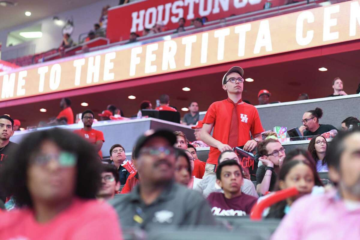 Fans at the Fertitta Center watch the University of Houston play in the Sweet Sixteen Game during a watch party on Friday March 29, 2019