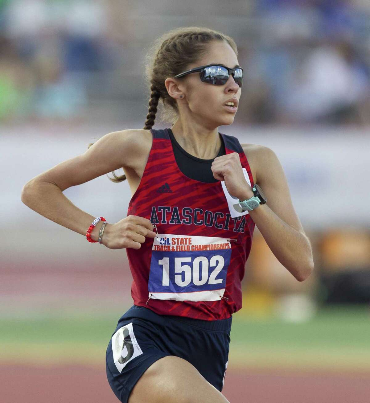 Avery Clover of Atascocita competes in the Class 6A girls 3,200-meter run Avery Clover of Atascocita competes in the Class 6A girls 3,200-meter run during the UIL State Track & Field Championships at Mike A. Myers Stadium, Saturday, May 12, 2018, in Austin.