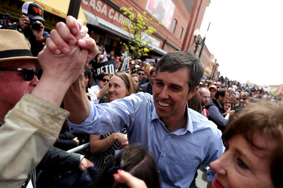 Democratic presidential hopeful Beto O'Rourke greets supporters at a rally in his hometown of El Paso, Texas. The former congressman also held events Saturday in Houston and Austin. Photo: Justin Sullivan / Getty Images