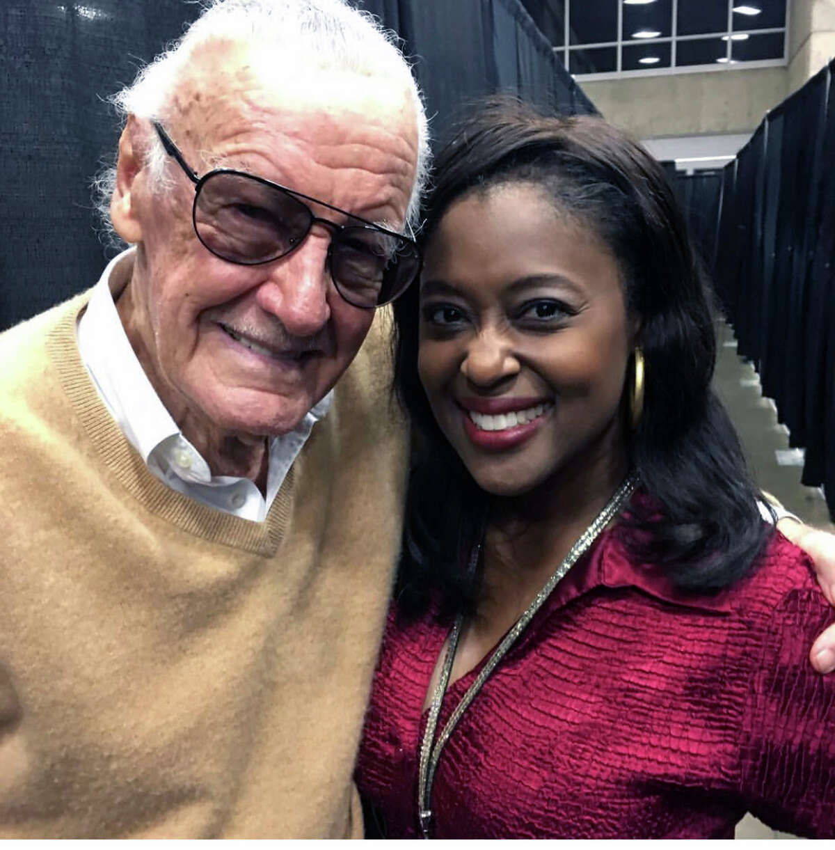 My biggest interview was with comic book creator, Stan Lee. Pictured: I am with the Marvel Comics man himself, Lee.