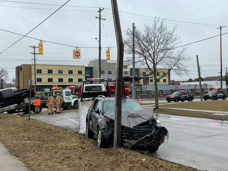 A two-vehicle crash at the intersection of Buttles Street and George Street left three passengers with minor injuries on March 30, 2019. Photo: Mitchell Kukulka