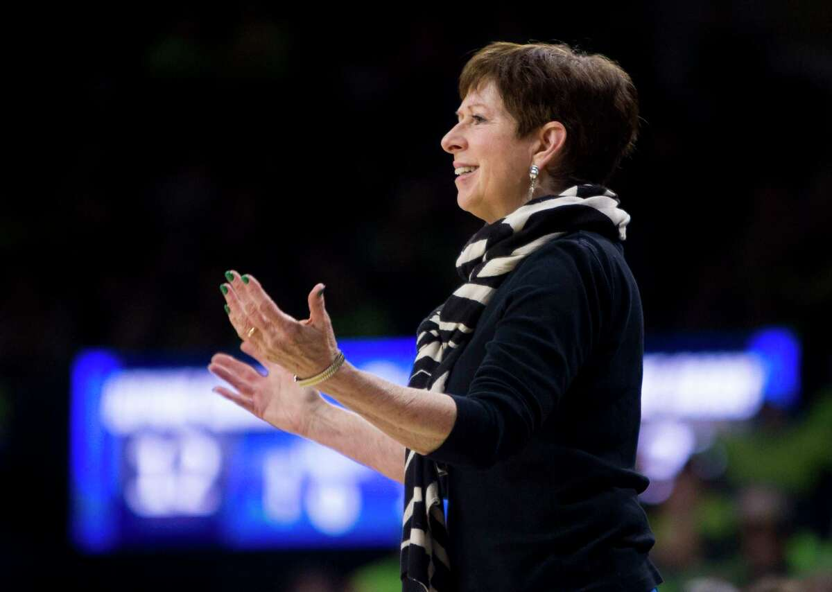 Notre Dame coach Muffet McGraw will lead her team against UConn on Dec. 8.