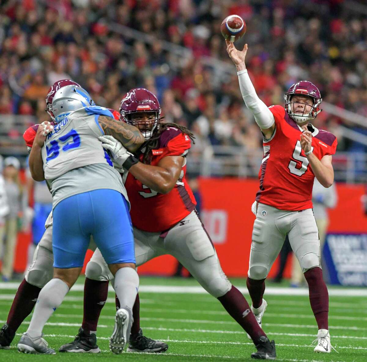 Casino company MGM Resorts International received a San Antonio bankruptcy judge's approval to take title to gaming technology developed by the defunct Alliance of American Football, which shut down in April. Pictured is Logan Woodside (5) during the AAF game between the Salt Lake Stallions and the San Antonio Commanders on March 17 at the Alamodome.