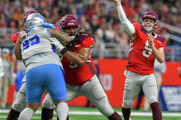 Logan Woodside (5) during the AAF game between the Salt Lake Stallions and the San Antonio Commanders on March 17. The AAF-related companies filed for Chapter 7 bankruptcy liquidation Wednesday in San Antonio, about two weeks after the league shut down.