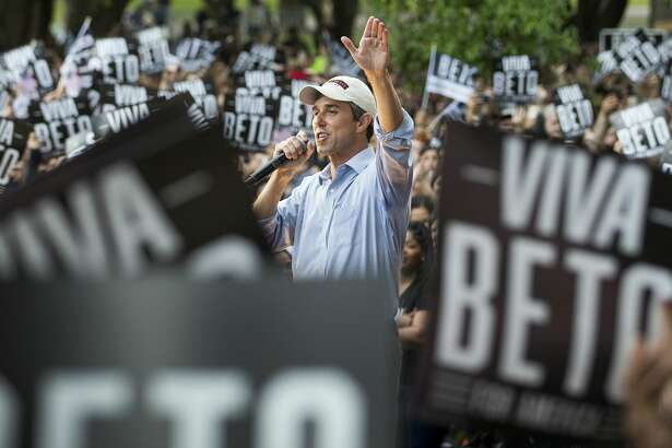 """Democratic presidential hopeful Beto O'Rourke speaks to a crowd of supporters on the campus of Texas Southern University on Saturday, March 30, 2019, in Houston. The stop in Houston is part of a 3-city """"official"""" campaign kickoff as he runs for president."""