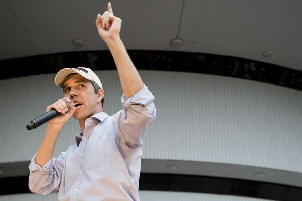 "Democratic presidential hopeful Beto O'Rourke speaks to a crowd of supporters on the campus of Texas Southern University on Saturday, March 30, 2019, in Houston. The stop in Houston is part of a 3-city ""official"" campaign kickoff as he runs for president."