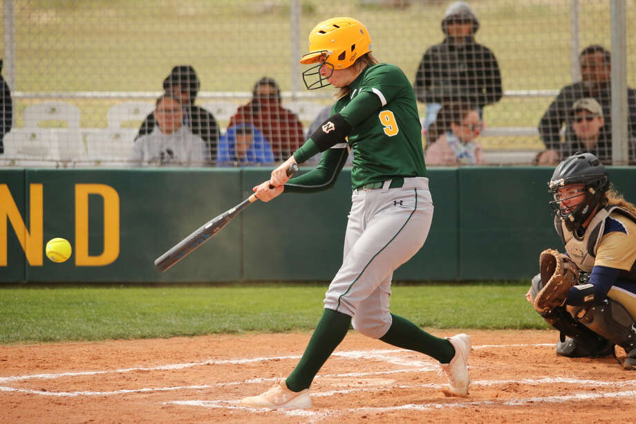Midland College center fielder Rocio Barajas records a single versus Frank Phillips College Saturday in a WJCAC softball game at the MC softball field. Photo: Midland College Athletics