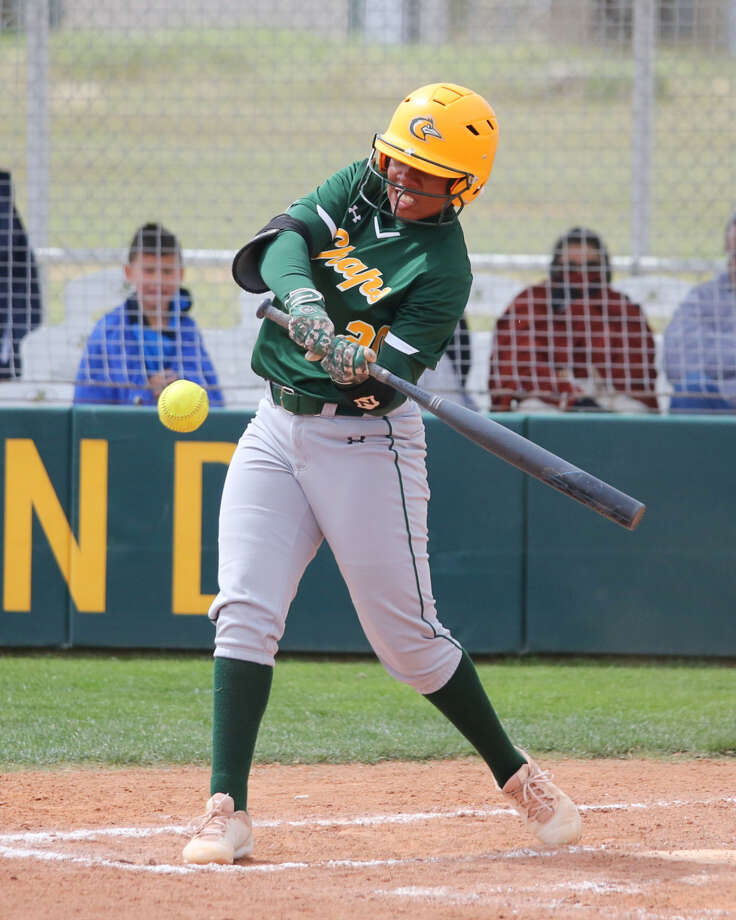 Former Midland High standout Deandra Allen records a hit for the Lady Chaps in Saturday's WJCAC softball game at MC softball field. Photo: Midland College Athletics