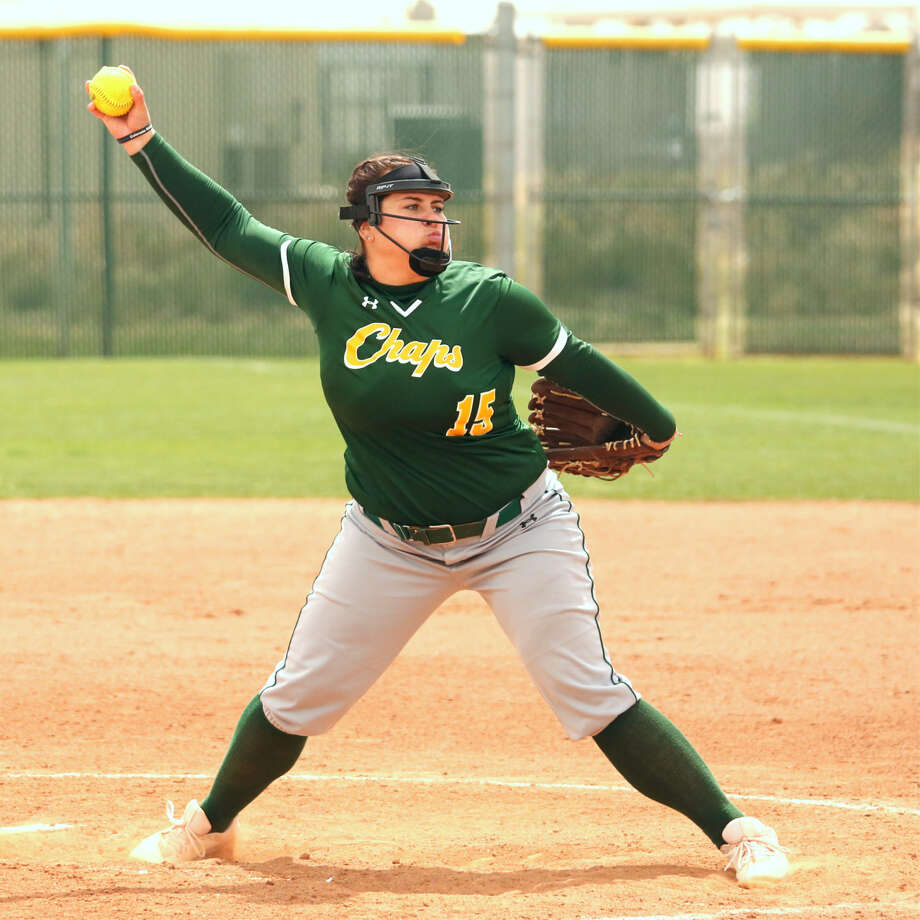 Lady Chap pitcher Taylor Laing faces Frank Phillips College in Saturday's WJCAC softball game at MC softball field. Photo: Midland College Athletics