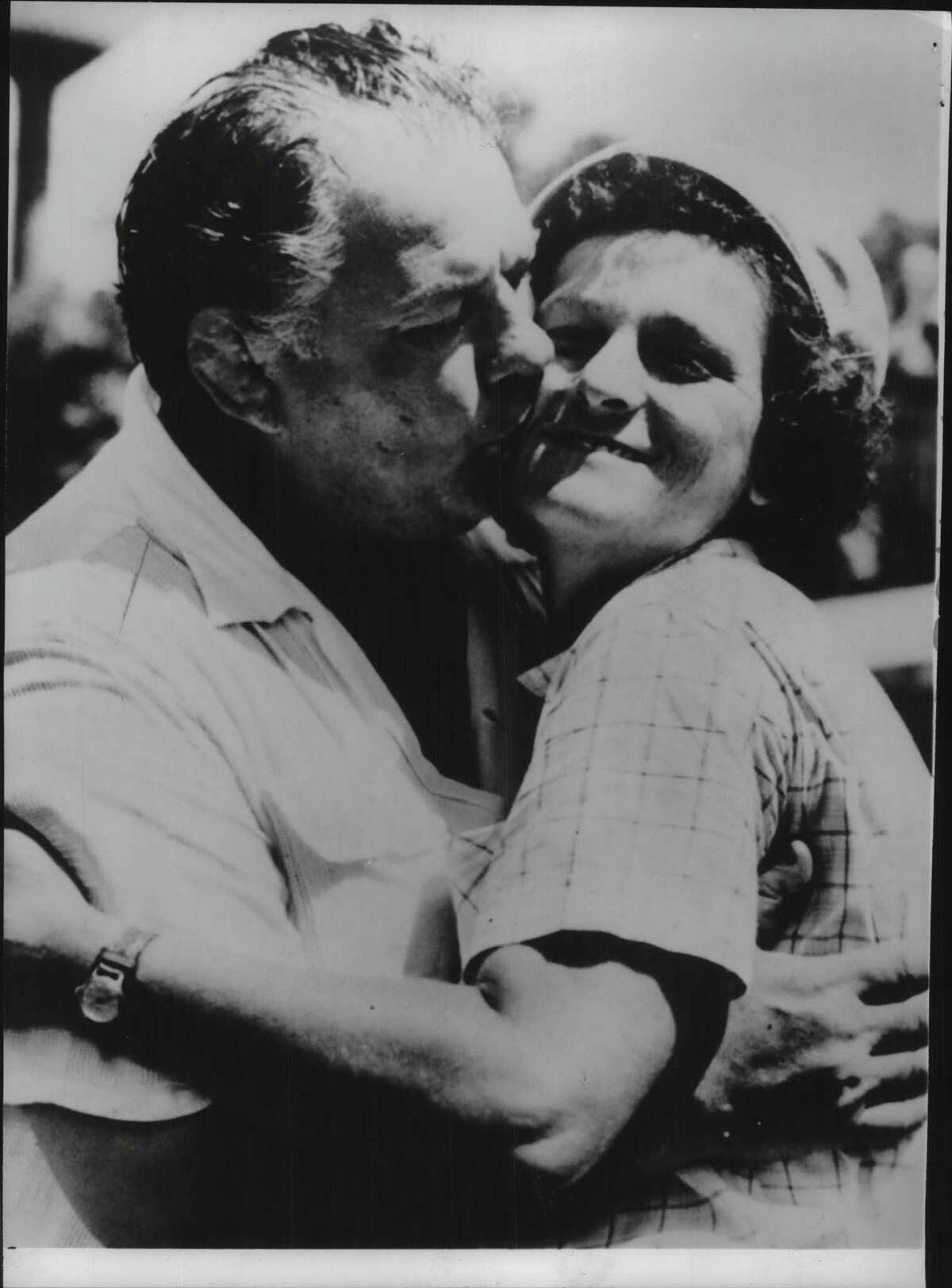 Multi-sport athlete Babe Didrikson Zaharias gets kiss. October 23, 1978 (Times Union Archive)