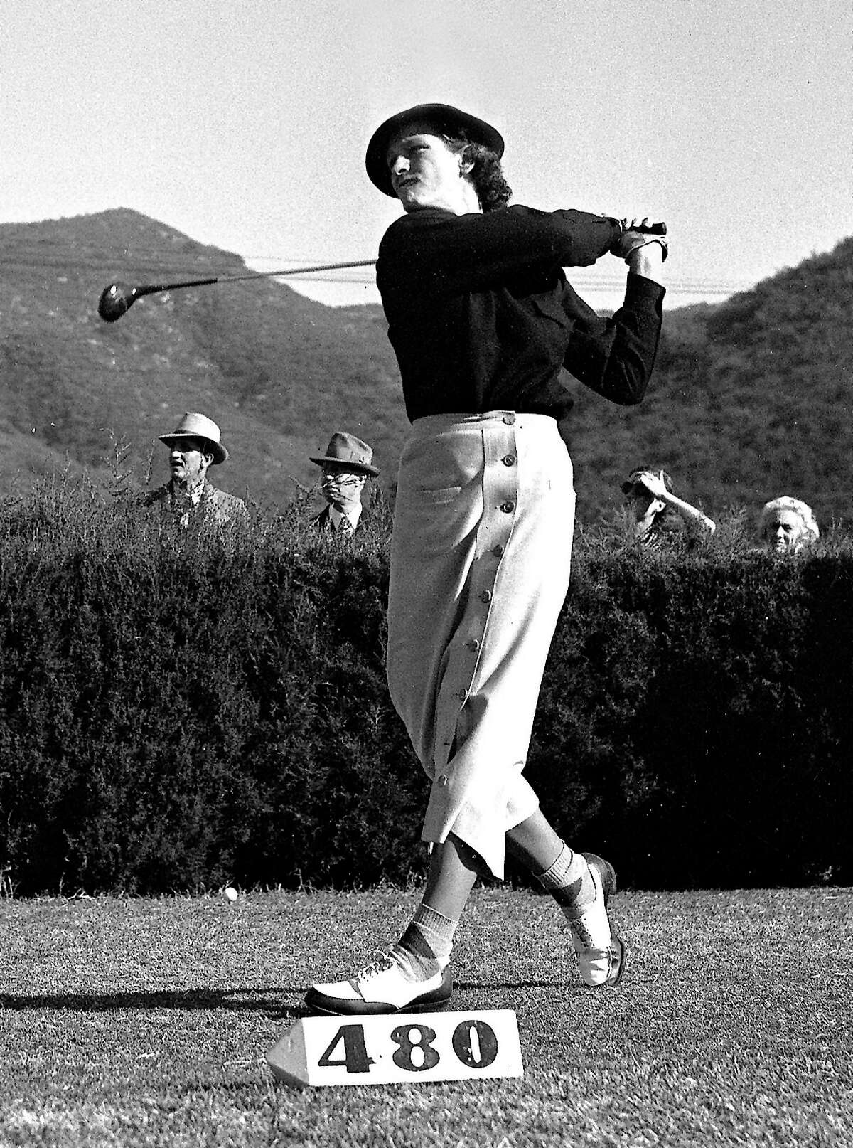 ** FILE ** Babe Didrikson Zaharias drives a ball during the $1500 Southern California Open golf tournament at Oakmont golf course in Glendale, Calif., in this Dec. 17, 1936 photo. A year ago, Michelle Wie was in line to make history at the John Deere Classic. She'll try again to become the first woman since Babe Zaharias in 1945 to make the cut at a PGA tournament starting Thursday July 13, 2006. (AP Photo/File)
