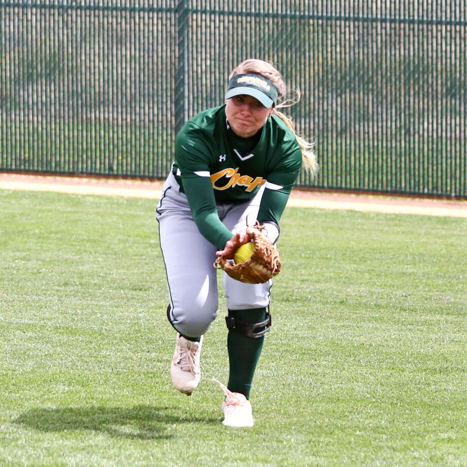 Midland College outfielder Regan Hubbard makes a lunging catch earlier this season against Frank Phillips College at MC softball field. Photo: Midland College Athletics