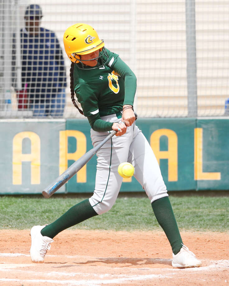 Lady Chap Aryell Aguiar slaps a hit in Saturday's conference game against Frank Phillips College. Photo: Midland College Athletics