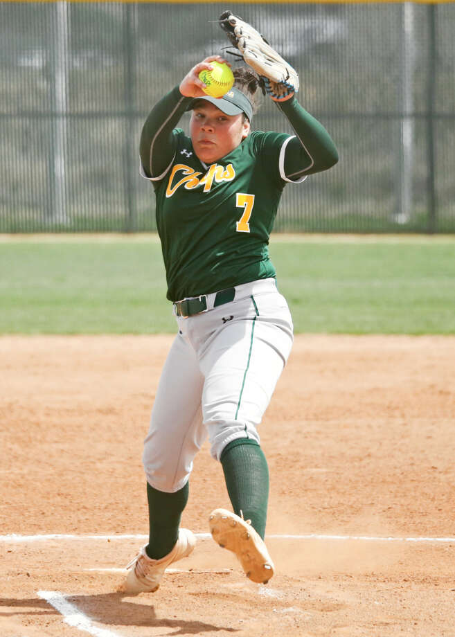 MC freshman hurler Hannah Ice pitches to the Frank Phillips College lineup Saturday. Photo: Midland College Athletics