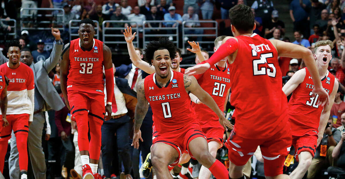 The Texas Tech Red Raiders celebrate after defeating Gonzaga, 75-69, in the NCAA Tournament West Regional Final at the Honda Center in Anaheim, Calif., on Saturday, March 30, 2019. (Luis Sinco/Los Angeles Times/TNS)