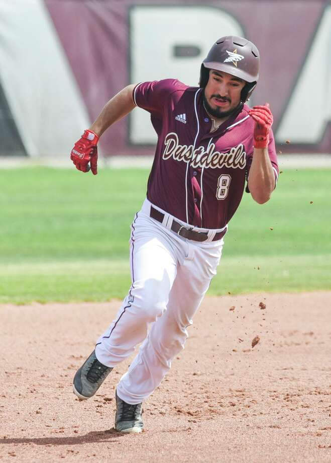 Anthony Handel had two of TAMIU's eight hits Friday as the Dustdevils lost 14-4 in eight innings at West Texas A&M. Photo: Danny Zaragoza /Laredo Morning Times File