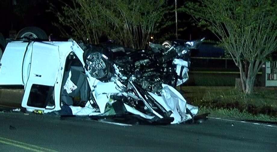 Truck flips over in fiery head-on crash, killing two in New