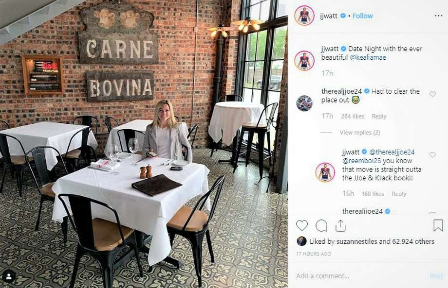 >>> Click through to see photos of J.J. Watt and Kealia Ohai's date night at B&B Butchers. Photo: Instagram