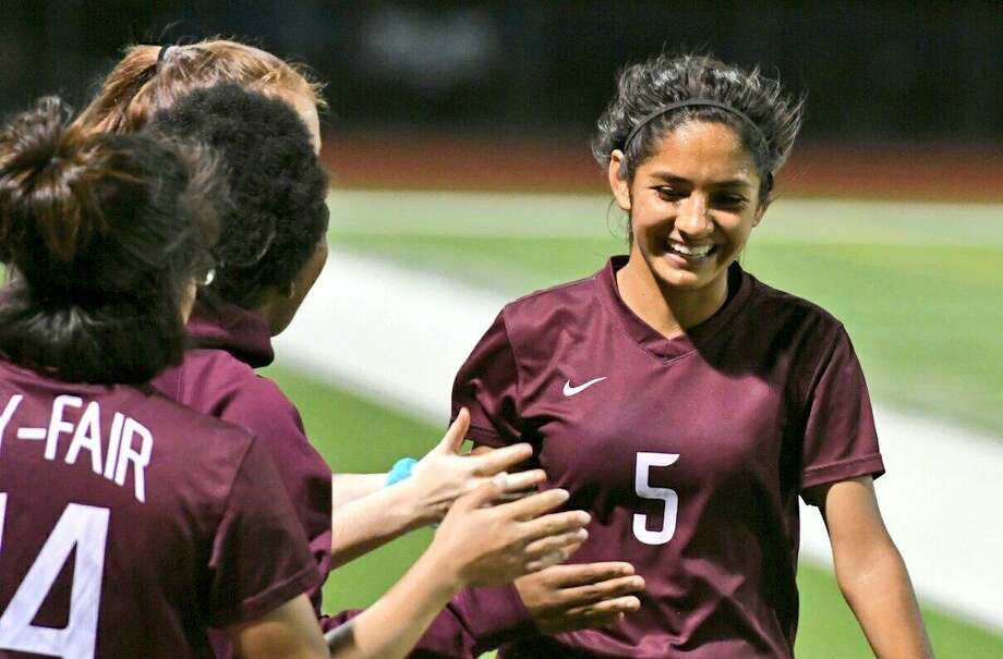 Leslie Amador (5) finished with an assist and a goal as Cy-Fair beat Westside 3-0 in the Class 6A Region III bi-district round, March 29, at Cy-Fair High School. Photo: CFISD