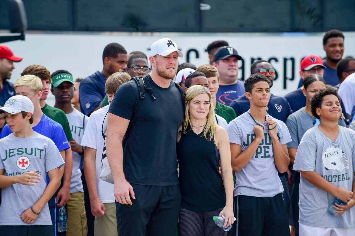 September 03, 2017 HOUSTON, TX - SEPTEMBER 03: Houston Texans defensive end J.J. Watt and his girlfriend, Houston Dash star, Kealia Ohai pose for a photo op before the press conference during the J.J. Watt and Houston Texans Hurricane Harvey relief effort on September 03, 2017 at the Methodist Training Center at NRG Park in Houston, TX. (Photo by Ken Murray/Icon Sportswire via Getty Images)