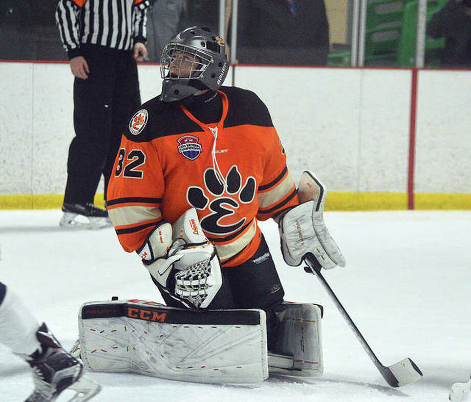 EHS goalie Mason Young finished the national tournament with a 2-2 record and a shutout. Photo: Scott Marion/The Intelligencer