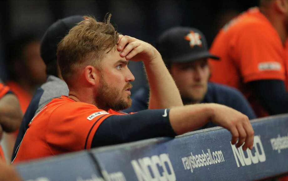 Max Stassi of the Houston Astros watches during the ninth inning of a baseball game against the Tampa Bay Rays at Tropicana Field on Sunday in St. Petersburg, Florida. Photo: Mike Carlson, Stringer / Getty Images / 2019 Getty Images