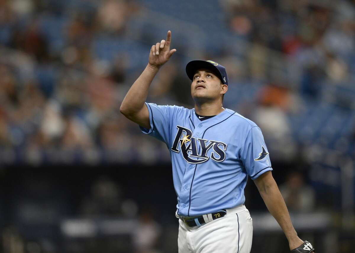 Tampa Bay Rays starting pitcher Yonny Chirinos (72) comes off the field at the end of the top of the seventh inning of a baseball game against the Houston Astros, Sunday, March 31, 2019, in St. Petersburg, Fla. (AP Photo/Jason Behnken)