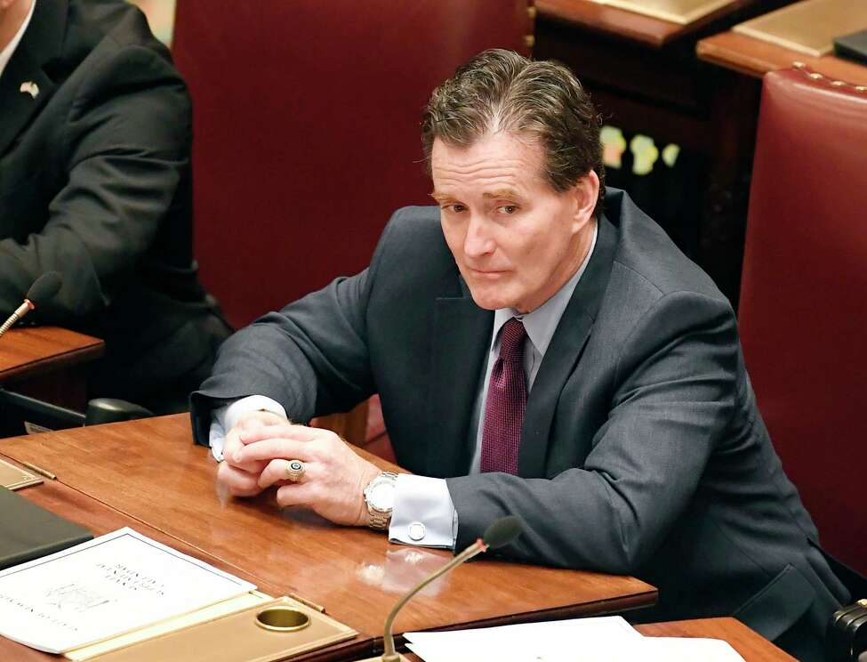 Senate Minority Leader John Flanagan, R-Smithtown, listens as Senate members debate budget bills in the Senate Chamber at the state Capitol Sunday, March, 31, 2019, in Albany, N.Y.