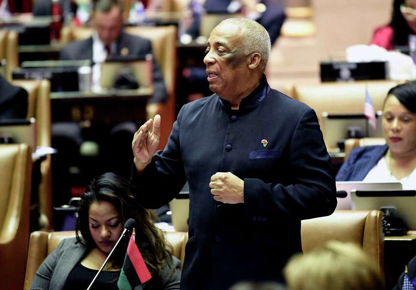 Assemblyman Charles Barron, D-Brooklyn, speaks as members of the Assembly debate budget bills in the Assembly Chamber at the state Capitol Sunday, March, 31, 2019, in Albany, N.Y.