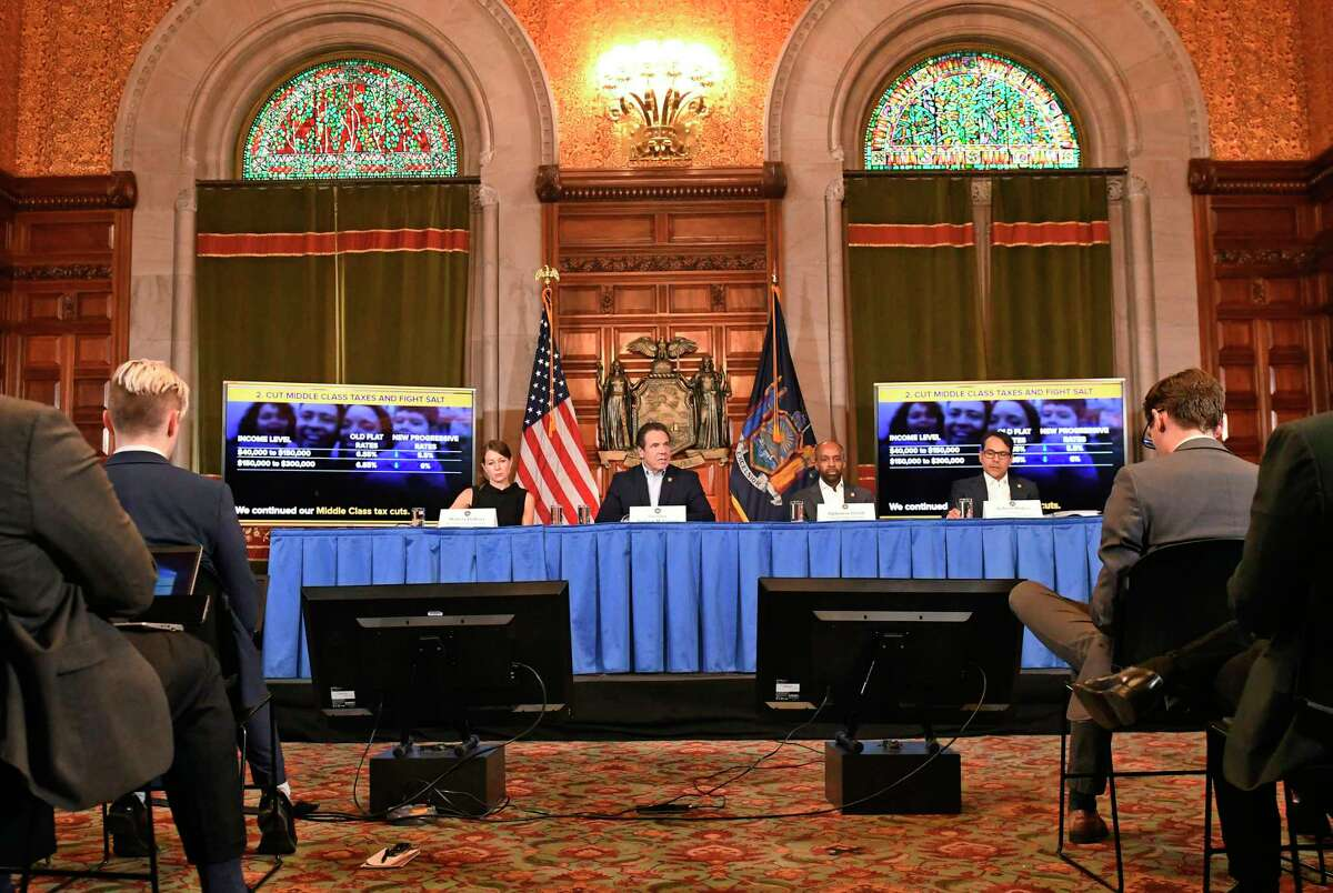 New York Gov. Andrew Cuomo speaks about the $175.5 billion state budget during a news conference in the Red Room at the state Capitol Sunday, March, 31, 2019, in Albany, N.Y.