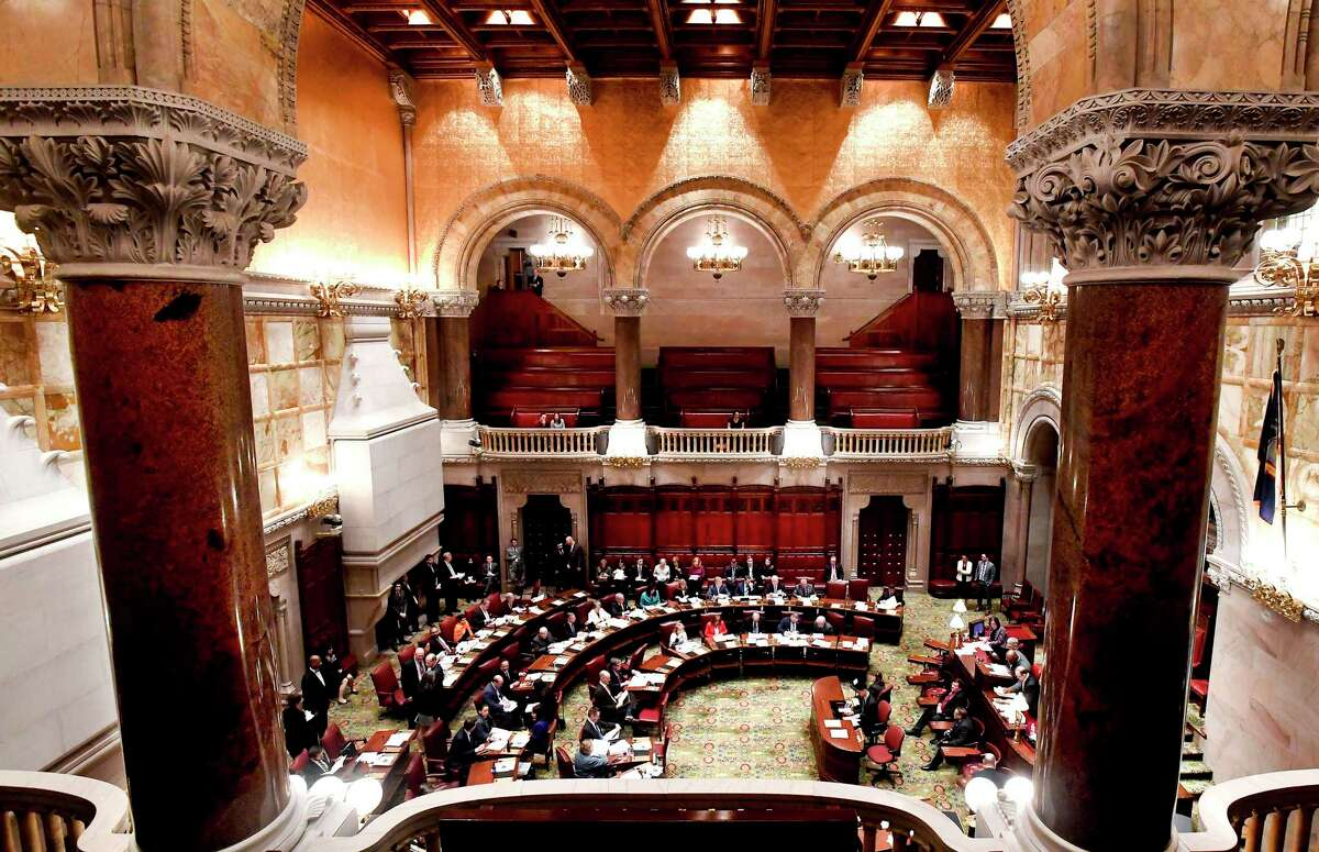 The chamber of the state Senate where two lawmakers from Long Island say they want to add crimes to the list of offenses that judges can set bail on.