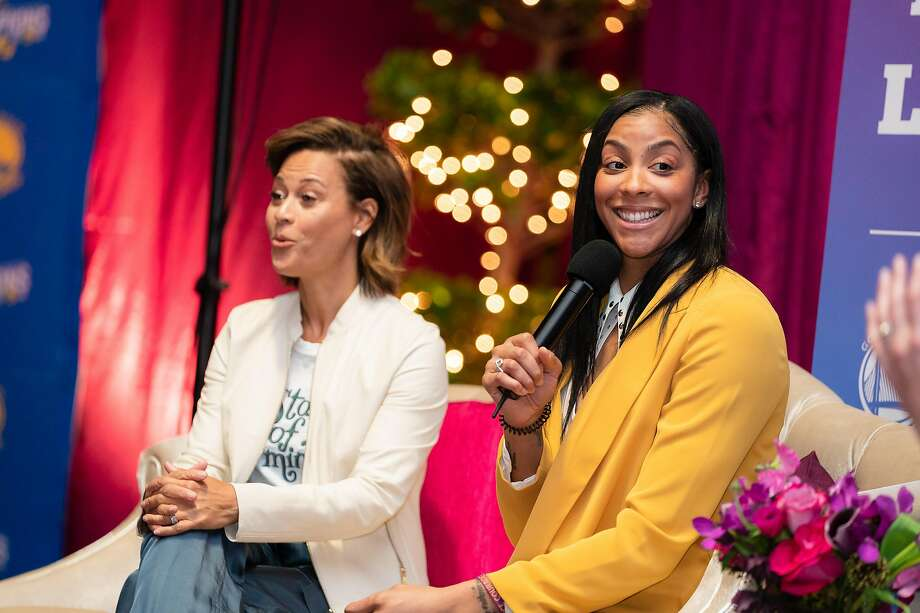 "Sonya Curry and Candace Parker participate in a ""Future Leaders Experience"" panel discussion for middle-school girls before Sunday's game between the Warriors and Charlotte. Photo: Josh Leung / Golden State Warriors"