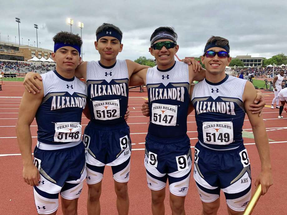 The Alexander 4x100-meter relay team consisting of Guillermo Garcia, Julian Verastagui, Tony Amaro and Massimo Garcia finished 54th overall out 71 teams with a 44.28 in the event at the Texas Relays. Photo: Clara Sandoval /Laredo Morning Times