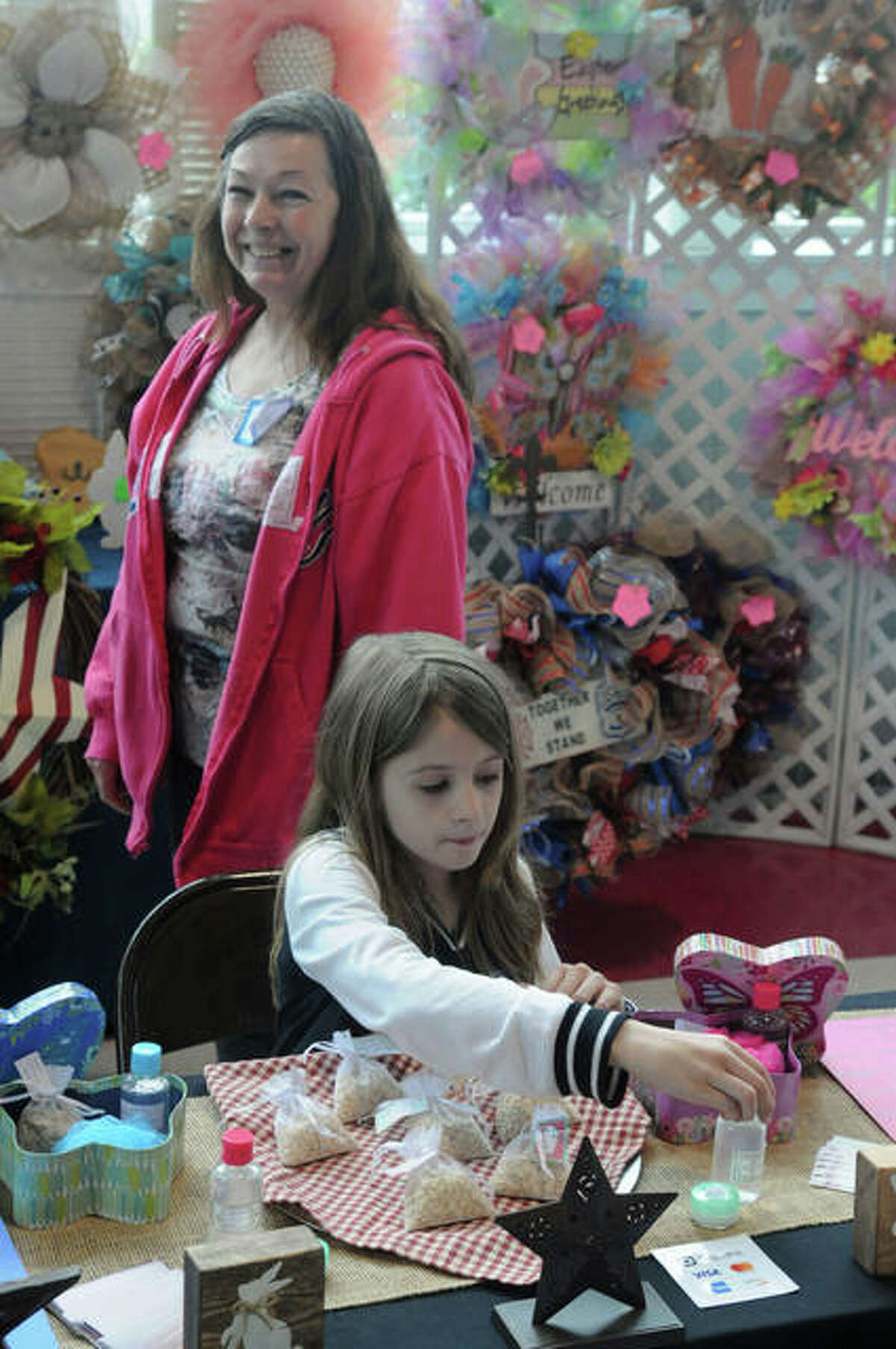 Nine-year-old Shayla Sikorski, of Panama, Illinois was one of the younger vendors working at the Olde Alton Vendor & Craft Fair.