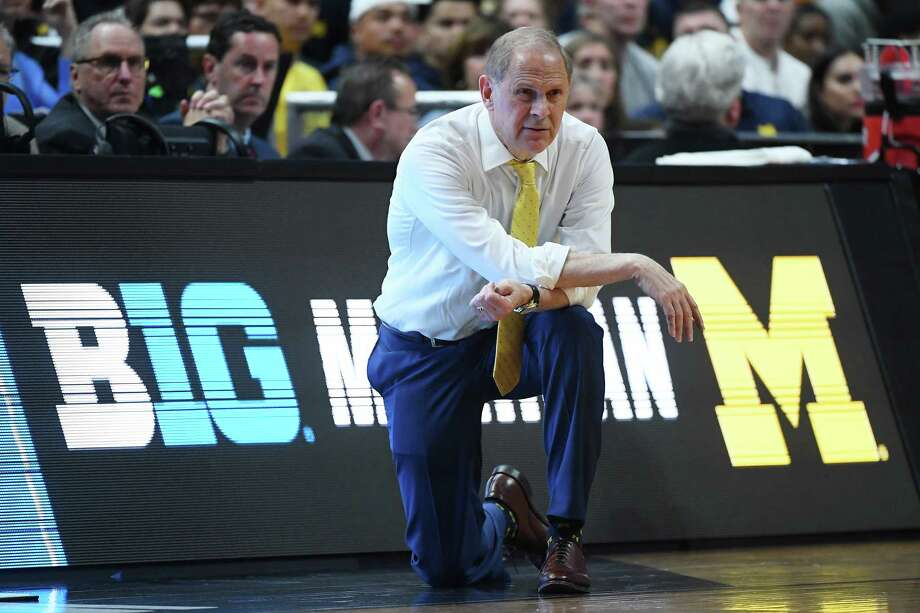 ANAHEIM, CALIFORNIA - MARCH 28: Head coach John Beilein of the Michigan Wolverines reacts during the 2019 NCAA Men's Basketball Tournament West Regional game against the Texas Tech Red Raiders at Honda Center on March 28, 2019 in Anaheim, California. Photo: Harry How, Getty Images / 2019 Getty Images