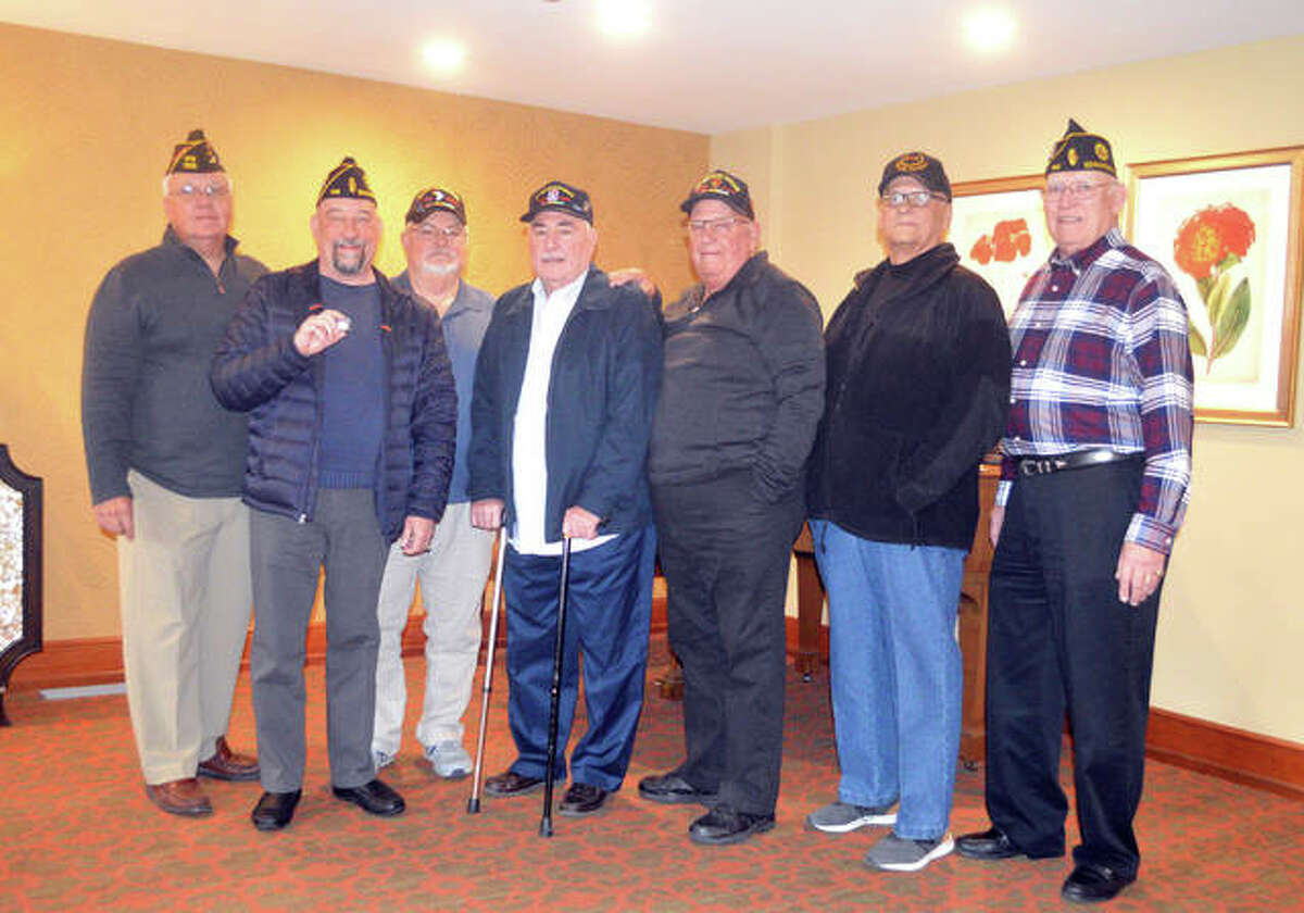 Veterans from Edwardsville American Legion Post #199 honored Saturday at the inaugural Welcome Home Vietnam Veterans Day breakfast buffet and program at Bethesda Barclay House in Clayton, Missouri, were, left to right, Joe Revelle, Ed Hosto, John Pinegar, Larry Ranek, Don Takacs, Guy Schmidt, and Ron Swaim