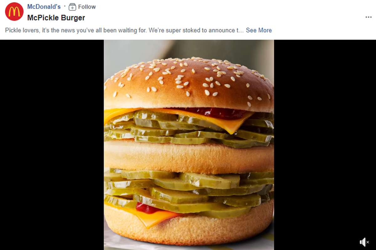 """McDonald's shared the """"news"""" of a burger with """"flavoursome pickles layered between melted cheese"""" and a line of new dips which includes strawberry, vanilla, chocolate and shamrock shake sauces on April Fool's Day."""