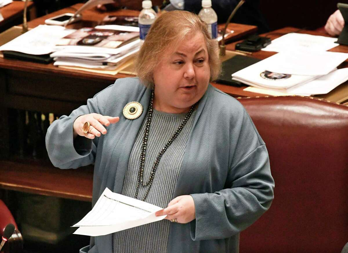 Sen. Liz Krueger, D-New York, speaks as Senate members debate budget bills in the Senate Chamber at the state Capitol Sunday, March, 31, 2019, in Albany, N.Y.