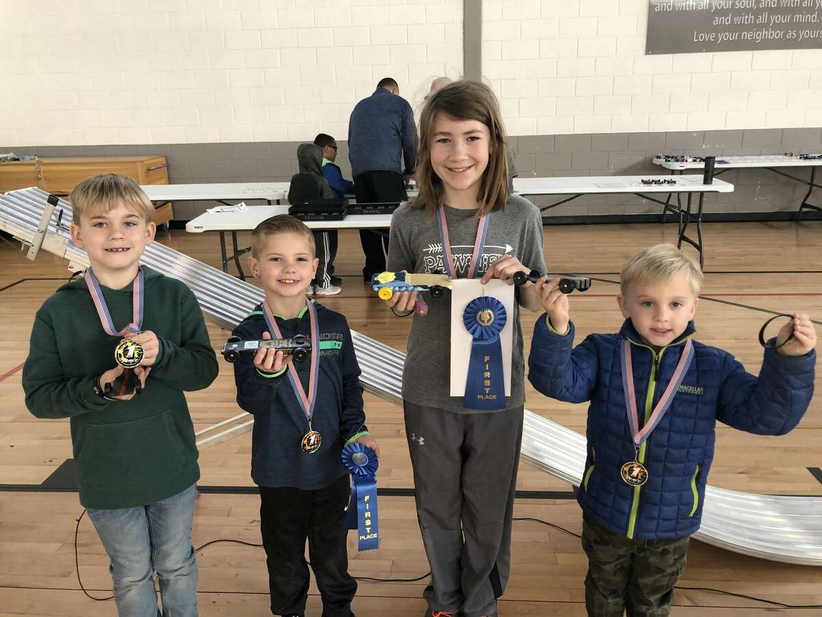 Pine car derby: Evan Bowers, from left, Cline Reeves, Brinin Nethery and Liam Bowers