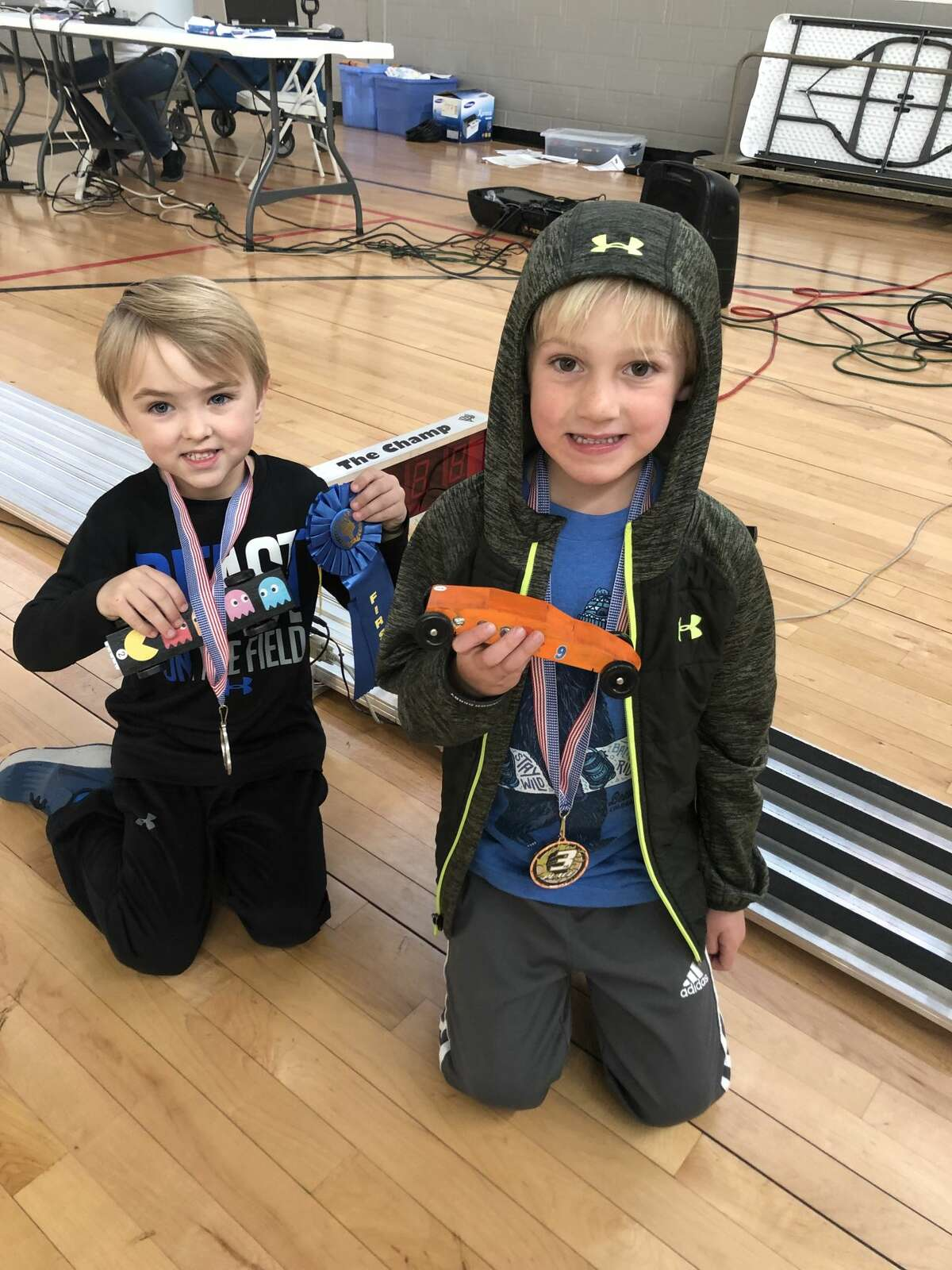 Pine car derby: Griffin Sell, left, and Charlie Hammond