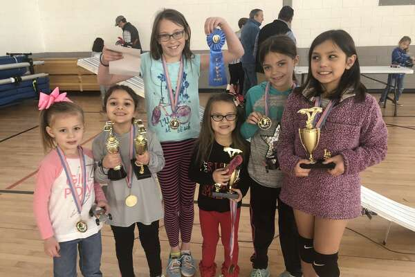 Pine car derby: Lynlee Phillips, from left, Jordyn Gomez, Abigail Donnelly, Khloe Barron, Kenadi Barron and Katelyn Gomez