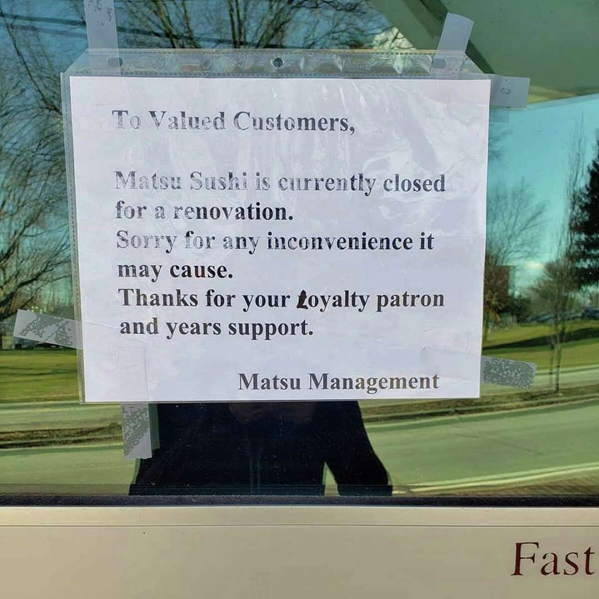 A sign in front of Matsu Sushi on April 1, 2019, says the restaurant is closed for renovations.