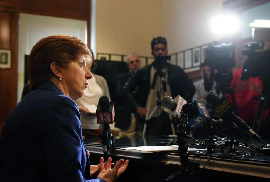 Mayor Kathy Sheehan holds a news conference to address questions about a weekend cyber attack on the city's computer system on Monday, April 1, 2019, at City Hall in Albany, N.Y. The ransomware attack was discovered Saturday morning. The mayor said the city's computer experts worked through the weekend to restore the system. (Will Waldron/Times Union) Photo: Will Waldron, Albany Times Union